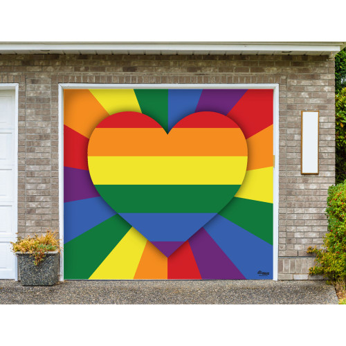 7' x 8' Red and Green LGBT Love Heart Single Car Garage Door Banner - IMAGE 1