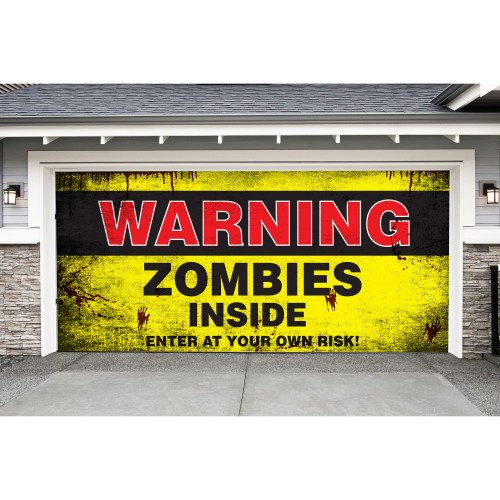 7' x 16' Yellow and Black Double Car Halloween Garage Door Banner - IMAGE 1