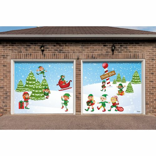 7' x 8' Green and Red North Pole Elves Split Car Garage Door Banner - IMAGE 1
