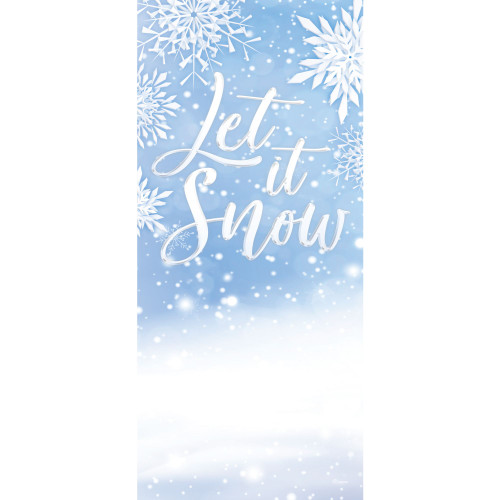 "80"" x 36"" White and Blue ""Let It Snow"" Christmas Front Door Banner Mural Sign Decoration - IMAGE 1"