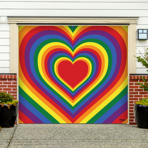 7' x 8' Red and Green LGBT Radiating Heart Single Car Garage Door Banner - IMAGE 1