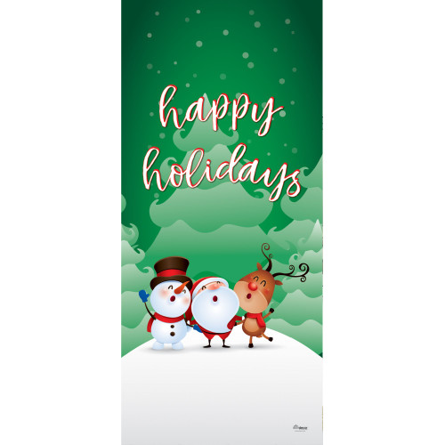 "80"" x 36"" Green and White Christmas Characters Happy Holidays Front Door Banner Mural Sign Decoration - IMAGE 1"
