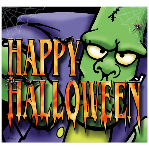 7' x 8' Green and Purple Big Frank Halloween Single Car Garage Door Banner - IMAGE 1