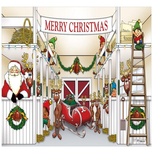 7' x 8' White and Red Santa's Reindeer Single Car Garage Door Banner - IMAGE 1
