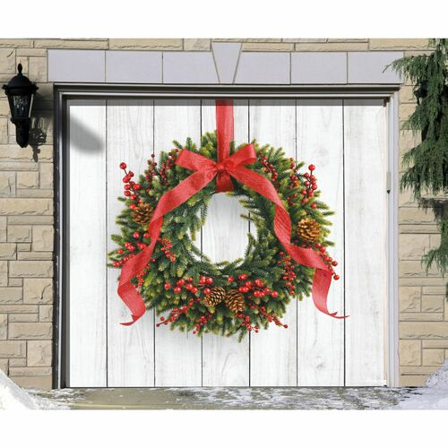 7' x 8' Red and Green Christmas Wreath Single Car Garage Door Banner - IMAGE 1