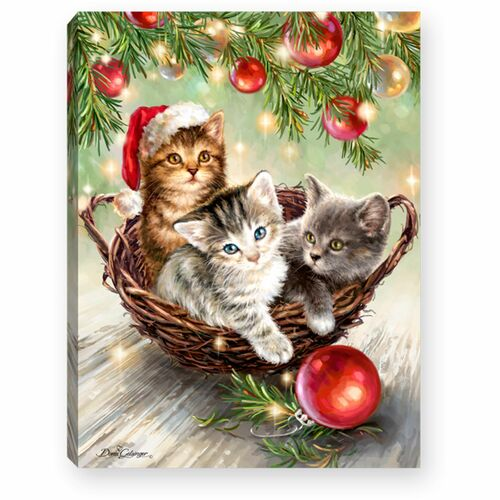 """8"""" Green and Red Christmas Kittens Lighted Tabletop Decor - IMAGE 1"""