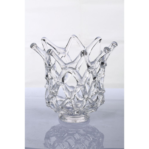 """12"""" Clear Crown Shaped Handblown Glass Tabletop Vase - IMAGE 1"""