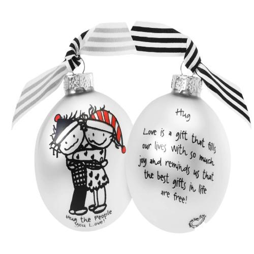 """""""Hug the People you Love"""" MarciGlass Christmas Ball Ornament 2.75"""" (70mm) - IMAGE 1"""