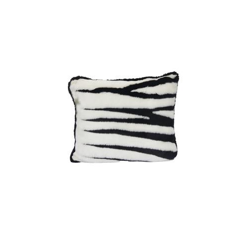 """Set of Two Black and White Zebra Print Throw Pillows 21"""" - IMAGE 1"""