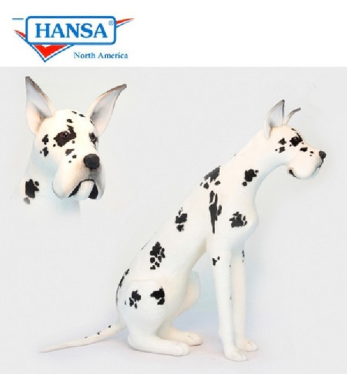 "47.25"" Life Size Handcrafted Harlequin Great Dane Stuffed Animal - IMAGE 1"