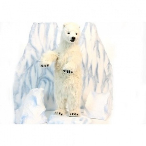 "39"" Handcrafted Standing Polar Bear Cub Stuffed Animal - IMAGE 1"