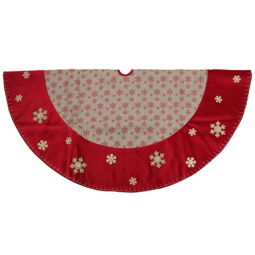 "60"" Burlap Glittered Snowflake Rustic Christmas Tree Skirt with Red Velvet Trim - IMAGE 1"