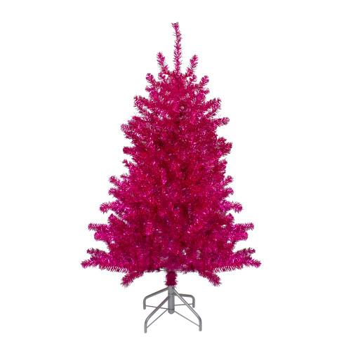 "4.5"" Metallic Pink Tinsel Artificial Christmas Tree - Unlit - IMAGE 1"