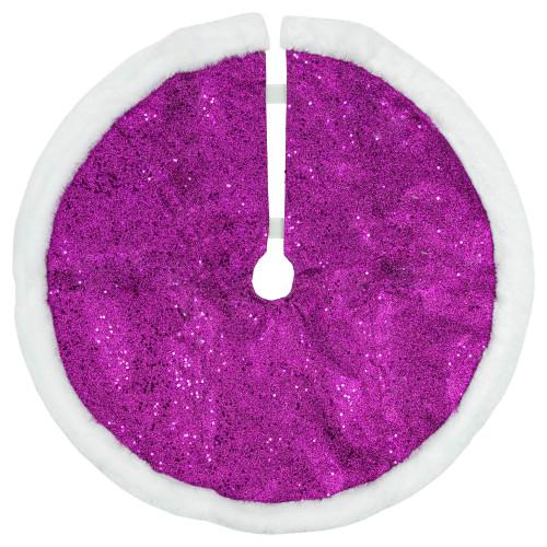 "20"" Purple Glittered Mini Christmas Tree Skirt with Faux Fur Trim - IMAGE 1"