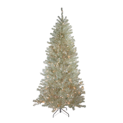 Metallic Sheer Champagne Artificial Tinsel Christmas Tree - 7 ft Clear Lights - IMAGE 1