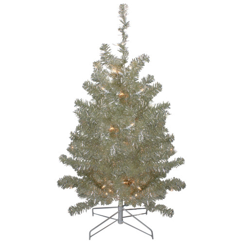 3' Metallic Sheer Champagne Artificial Tinsel Christmas Tree - Clear Lights - IMAGE 1