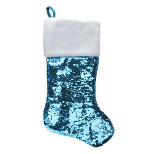 "22.75"" Sky Blue and Silver Reversible Sequined Christmas Stocking with Faux Fur Cuff - IMAGE 1"