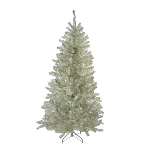 7' Metallic Sheer Champagne Artificial Tinsel Christmas Tree - Unlit - IMAGE 1