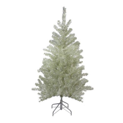 4.5' Metallic Sheer Champagne Artificial Tinsel Christmas Tree - Unlit - IMAGE 1