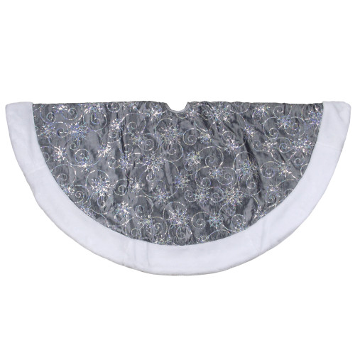 """46"""" Gray and Silver Sequined Christmas Tree Skirt with Faux Fur Trim - IMAGE 1"""