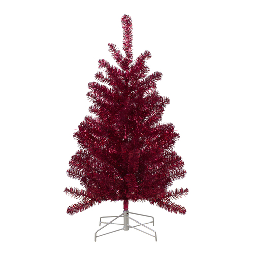 3' Metallic Red Tinsel Artificial Christmas Tree - Unlit - IMAGE 1