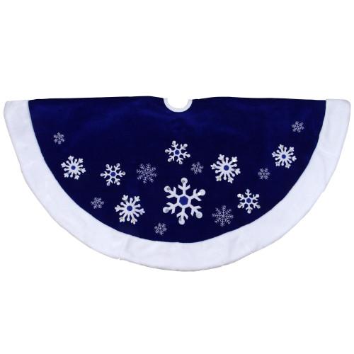 "48"" Blue Velveteen Snowflake Christmas Tree Skirt with Faux Fur Trim - IMAGE 1"