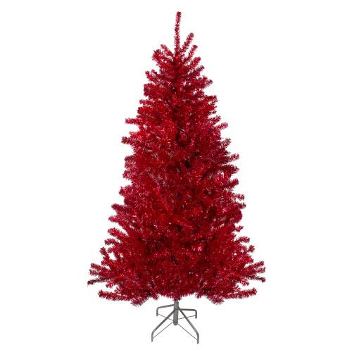 7; Metallic Red Tinsel Artificial Christmas Tree - Unlit - IMAGE 1