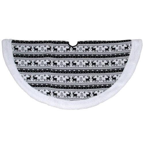 """48"""" Black and White Knitted Reindeer Lodge Round Christmas Tree Skirt - IMAGE 1"""