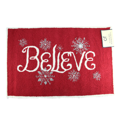 """2' X 3'  Red, White and Silver """"Believe"""" Decorative Christmas Throw Rug - IMAGE 1"""