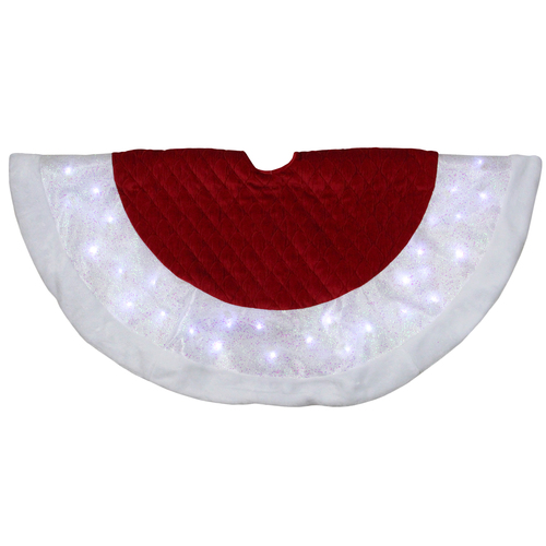 """48"""" LED Red Quilted Velvet Iridescent Christmas Tree Skirt with Faux Fur Trim - IMAGE 1"""