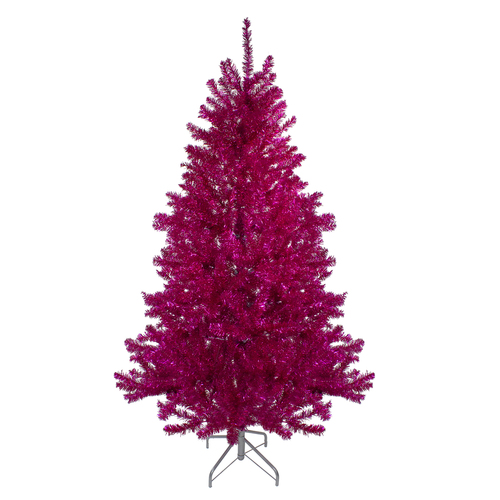 6' Metallic Pink Tinsel Artificial Christmas Tree - Unlit - IMAGE 1