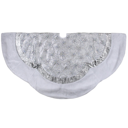 """60"""" Iridescent Sequined White and Silver Christmas Tree Skirt with Faux Fur Trim - IMAGE 1"""