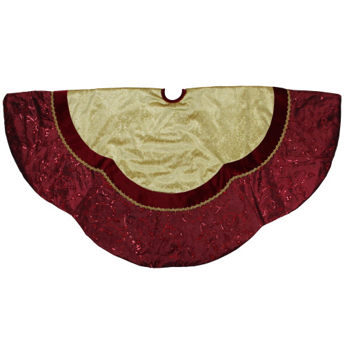 "60"" Red and Gold Scalloped Sequined Christmas Tree Skirt - IMAGE 1"