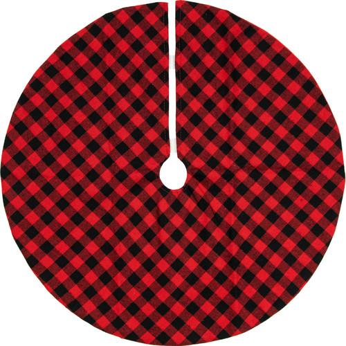"""20"""" Red and Black Buffalo Plaid Mini Christmas Tree Skirt - IMAGE 1"""