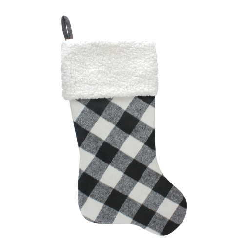 "23"" Black and White Rustic Checkered Christmas Stocking - IMAGE 1"