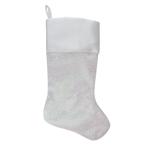 """22.25"""" White with Pink Iridescent Glitter Christmas Stocking with Satin Cuff - IMAGE 1"""