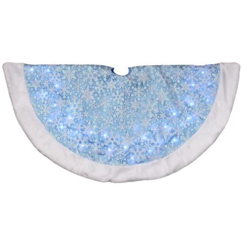 "48"" LED Blue Iridescent Glittered Snowflakes Christmas Tree Skirt - IMAGE 1"