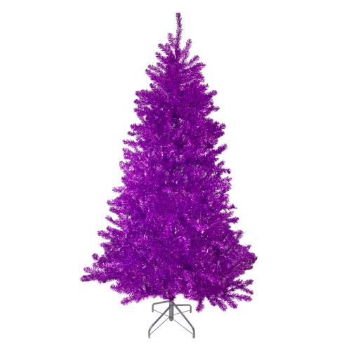 7' Metallic Purple Tinsel Artificial Christmas Tree - Unlit - IMAGE 1
