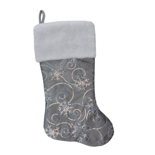 "22"" Silver Metallic Sequined Christmas Stocking with Faux Fur Cuff - IMAGE 1"