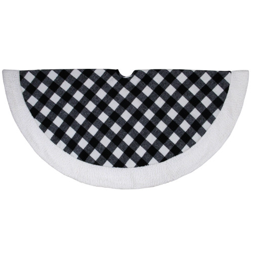 "48"" Black and White Buffalo Plaid Christmas Tree Skirt with Sherpa Trim - IMAGE 1"