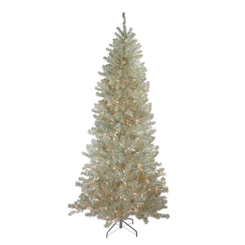 9' Pre-Lit Metallic Sheer Champagne Artificial Tinsel Christmas Tree - Clear Lights - IMAGE 1