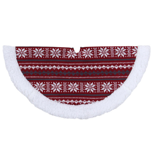 """20"""" Gray and Red Snowflakes Lodge Mini Christmas Tree Skirt With Sherpa Trim - IMAGE 1"""
