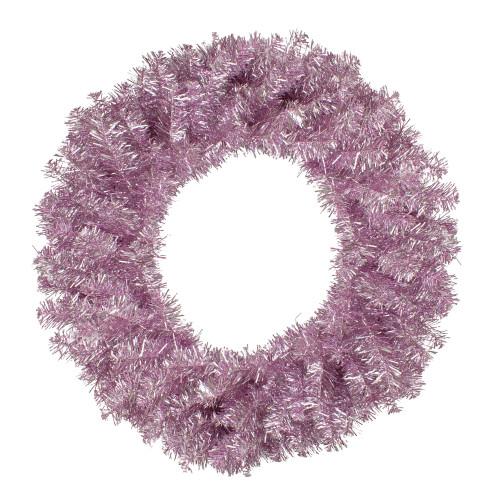 "24"" Metallic Pink Artificial Double Tinsel Christmas Wreath - Unlit - IMAGE 1"