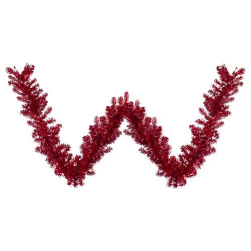 "9' x 12"" Metallic Red Tinsel Artificial Christmas Garland - Unlit - IMAGE 1"