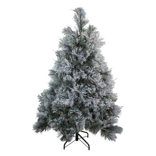 4.5' Flocked Black Spruce Artificial Christmas Tree - Unlit - IMAGE 1