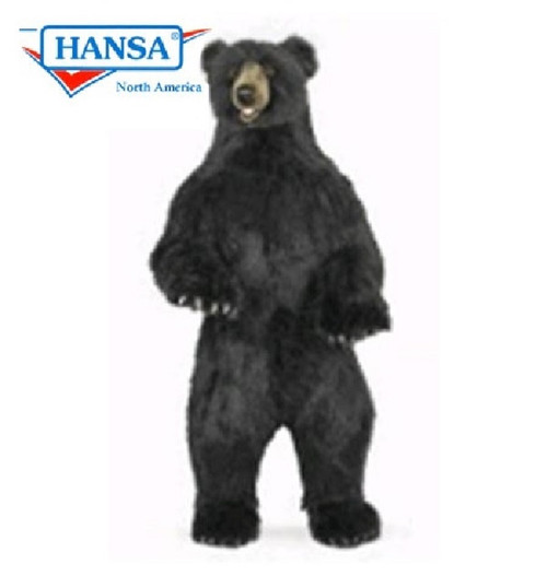"59.75"" Life-Size Handcrafted Black Bear Stuffed Animal - IMAGE 1"