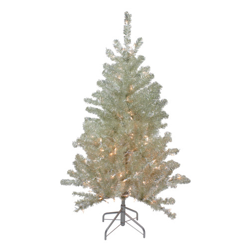 4.5' Soft Metallic Champagne Artificial Tinsel Christmas Tree - Clear Lights - IMAGE 1
