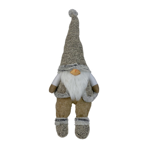 "17"" Gray and Beige Sitting Christmas Gnome Decoration - IMAGE 1"