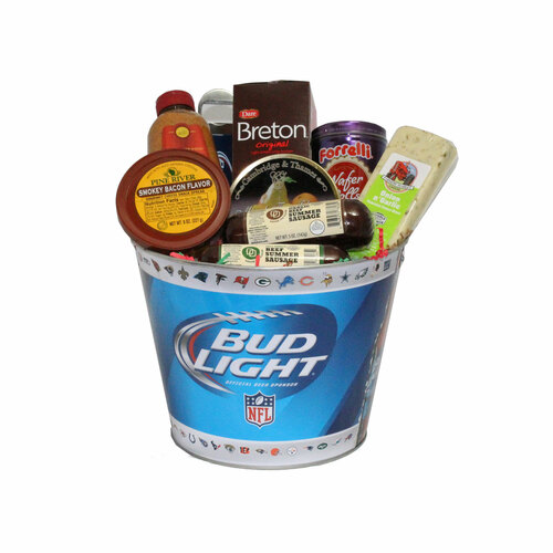 """9pc Blue and White Bud Light Beer Bucket with Goodies 20"""" - IMAGE 1"""