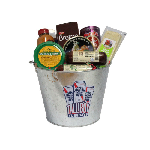 """9pc Silver Pabst Blue Ribbon Beer Bucket with Goodies 20"""" - IMAGE 1"""